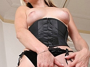 Blonde mom in black nylon stockings