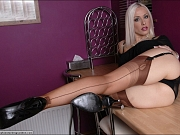 Petite model in tan nylon stockings