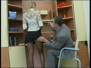 Sexy antoinette in black tights fucked at work - Clip 1