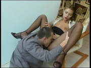 Sexy antoinette in black tights fucked at work - Clip 3