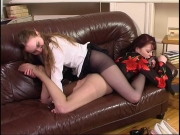 Lesbian coeds nellie fidelia wearing pantyhose and licking feet - Clip 2