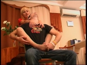 Blonde cassandra gets her nylon feet licked and gives footjob - Clip 4