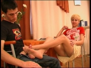 Blonde cassandra gets her nylon feet licked and gives footjob - Clip 3