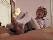 Wife in white tights and hubby engaged in foot worship games - Clip 1