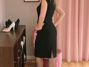 Blonde slut in sexy black stilettos