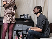 Guy dressed in pantyhose fucks girl