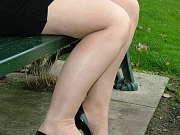 Sexy black high heels outdoors