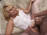Hairy mature in white lingerie