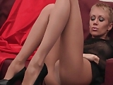 Sexy Babe With Long Legs Tears Open Her Pantyhose