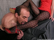 Pantyhose slave worships his Mistress in pantyhose and heels