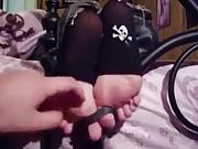 Punk Girl Tickled in Toeless Stockings