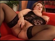 Hot BBW masturbation in black stockings