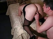 Hubby licks my spunk from hius slut wifes cunt