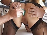 British Slut Bee in Black FF Stockings