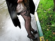 Chick check her fashion fishnet stockings