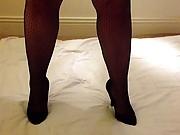 Louise Nylon stroking her pantyhose in gloves