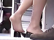 Candid Blonde Nylon Feet and Legs Shoeplay Hostess