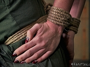 Kay Kardia sexy pantyhose blonde is rope bound in a dungeon