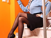 Sexy office whore in sheer black stockings