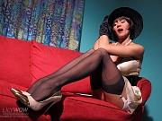 Vintage MILF whore in sexy black nylon stockings