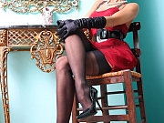 Hot leggy MILF in classy black vintage stockings and underwear