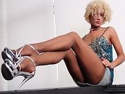 Luxury long MILF legs in sheer nude pantyhose