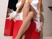 Leggy whore in classy vintage nylon stockings