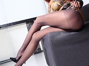 Crazy long legs in sexy grey nylon tights