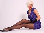 Leggy MILF Lily in sheer black nylon pantyhose