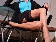 Hot secretary in sexy backseamed stockings