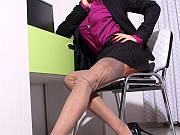 Hot leggy secretary in sheer vintage stockings