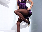 Long MILF legs in sheer black nylons