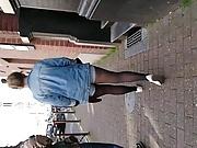 Sexy girl Denim short black pantyhose #4