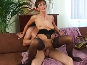 Horny short haired mature in sexy lingerie.wmv
