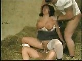 Huge Tits HARD DPP Wearing Stockings  In The Barn