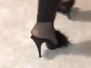 Nylon soles, feet, hight mules, wetlook leginggs