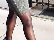 Sexy black nylons booty