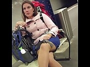 Crossing legs nylon babe in metro