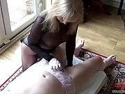 Encased Blonde Oiled Handjob In panties