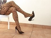 Hot Dangling with new leopard Nylon Heels