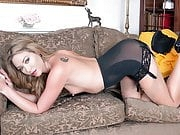 Sexy blonde finger fucks wet pussy in open girdle and nylons