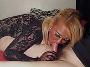 Blonde BBW Gagged In Bodystocking Finish Daddy Off With Blow