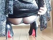 Upskirt nylon and ass