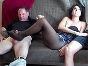 Pantyhose footjob hotwife