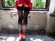 Stockings, High Heels and Red Panties