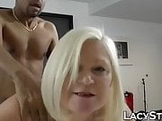 Granny with big tits drilled by black cock after sucking
