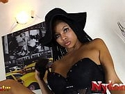 Black babe in stockings footjob while masturbating